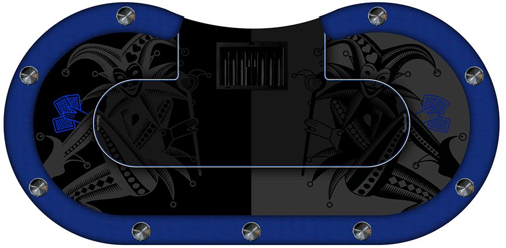 table de poker joker cuir bleu